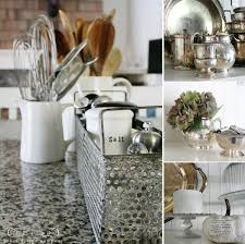 dishy kitchen counter decorating ideas: kitchen counter decor decorative utensil holders vases and plants candles on cake stands
