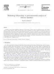 publication pdf rethinking followership a post structuralist publication pdf rethinking followership a post structuralist analysis of follower identities