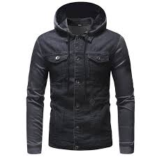 Men Casual Hooded Denim Jacket Stitching Sale, Price & Reviews ...