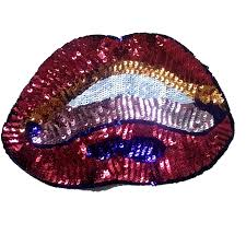 <b>1PCS</b> Colorful <b>Sequins Lips</b> Patches Embrioderey Sticker Sewing ...