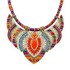 ELEN-Women <b>Geometric</b> Tribal <b>Necklace</b> Female Rhinestone ...