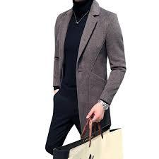 <b>Mens Windbreaker Medium Length Wool</b> Woolen Coat: Buy ...