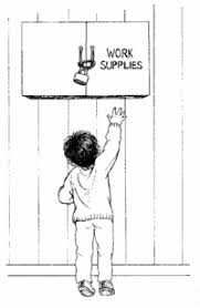 a child reaches toward a locked cupboard labelled work supplies bring work home home