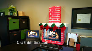 holiday office idea fireplace computer cubicle fun diy christmas decorations band office cubicle