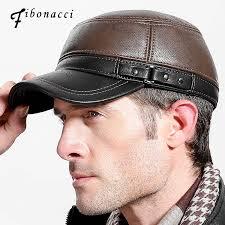 <b>Fibonacci brand quality</b> men's baseball cap leather patchwork ...