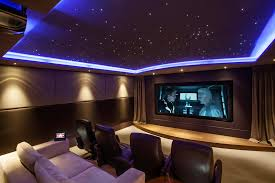 luxurious modern home theater ideas with amazing blue white star light design on the ceiling and amazing ceiling lighting ideas family