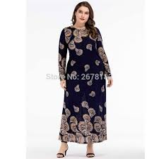 Woman Pattern Printed Long Sleeve <b>Plus Size</b> Muslim Dress <b>Middle</b> ...