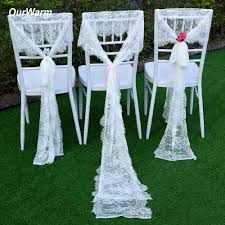 <b>OurWarm 10Pcs</b> White Lace Chair Sashes 35x300CM Wedding ...