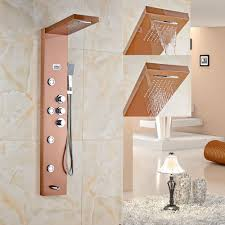 golden bathroom shower column faucet wall: luxury rose gold finished shower faucet wall mounted shower panel thermostat control shower mixer tap