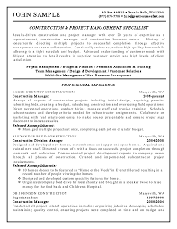 sample resume for construction project manager   best resume galleryresidential construction project manager resume