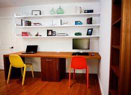 adorable brown varnished wooden computer desk wooden flooring wooden storage cabinet white stained wooden open wall shelf wooden door yellow ochree color adorable home office desk full size