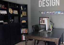 gray home office. gray home office with large wood desk house studio