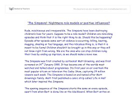 essay on role models the simpsonstm nightmare role models or positive influences  document