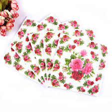 <b>20pcs</b> Table napkins paper tissue printed flower rose servilletas ...
