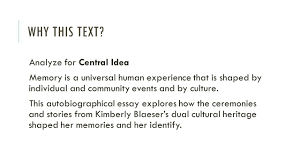 central idea of a text and analyzing its development rituals of 3 why