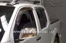 <b>Дефлекторы боковых окон</b> Nissan Navara 2005-2015 <b>темные</b>, 4 ...