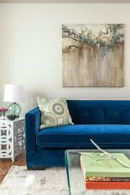 blue sofas living room: types of blue velvet sofa interior with blue velvet sofa pillow wall painting e