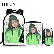 <b>THIKIN</b> Singer Rapper Hiphop Billie Eilish <b>3 Pcs</b>/<b>Set</b> Backpacks ...