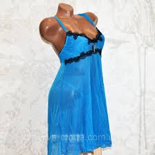 Размер L. <b>Откровенный</b> голубой комплект ночного женского ...