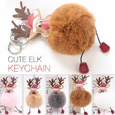 <b>Christmas Elk</b> Delicate Unique <b>Hair Ball</b> Keychain - Fairyseason