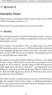sap crm interview questions answers and explanations pdf for example it is possible to have via single sign on the sap ep