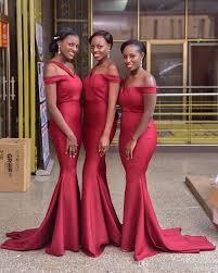 Dark <b>Red 2018 Elegant</b> African Black Girls Mermaid Bridesmaid ...