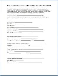 authorization for consent to medical treatment of minor child permission letter for medical treatment