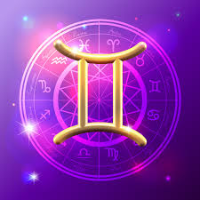 Purple square with astrology wheel as the backdrop to a golden Gemini symbol