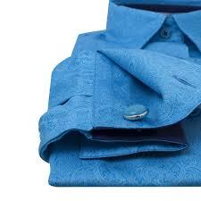 Женская рубашка под запонки бирюзовая <b>восточный узор</b> - 7080