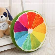 Plush Toys <b>Creative Simulation</b> 3D <b>Fruit</b> Cushion Pillow Round ...