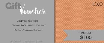gift vouchers orange and grey customize printable gift voucher