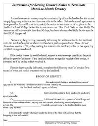 notice to terminate month to month tenancy tenant lease termination letter