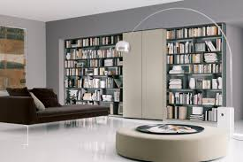 modern home library design with awesome shelfs small home