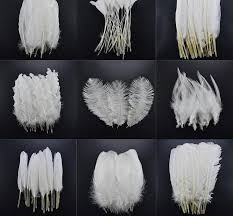 <b>20pcs</b>/<b>Lot</b> White Rooster Goose Pheasant <b>Feathers</b> for Crafts ...