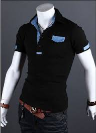 <b>Mens Short</b> Sleeve Shirt with Denim Details | Shirts, Polo shirt ...