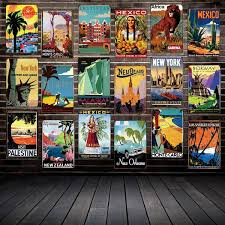 2019 <b>Mike86</b> ANTIQUE TRAVEL Tin Signs Famous Countries Cities ...