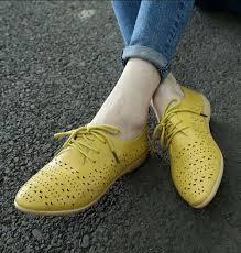 <b>Women's</b> yellow leather #flat shoe #<b>LaceUp</b> hollow cut <b>Rome</b> style ...