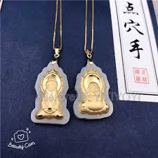 natural white hetian jade 18k solid gold inlaid guanyin buddha lucky amulet pendant free necklace fine jewelry certificate