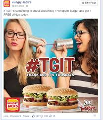 hungry jacks slaying FB audience with some absolutely BONKERS ... via Relatably.com