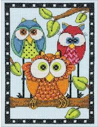 Dimensions Owl <b>Trio</b> - Cross <b>Stitch</b> Kit. Cross <b>stitch</b> kit featuring a <b>trio</b> ...