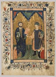 manuscript illumination in italy   essay  heilbrunn  saint mark the evangelist and saint sinibaldus venerated by members of a lay confraternity