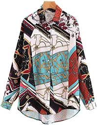 Women <b>Casual Geometric Pattern</b> Blouses <b>Long</b> Sleeve Turn Down ...