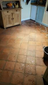 Terracotta Kitchen Floor Tiles Cleaning An Old Terracotta Tiled Kitchen Floor In Runcorn West