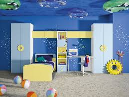 blue underwater themed boy kids bedroom blue solid wood homestar kids storage cabinet yellow wood platform blue themed boy kids bedroom