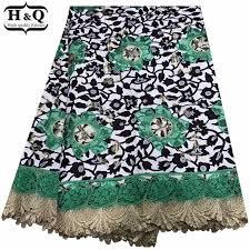 H&Q Floral Print Batik Lace Fabric Beautfiful Green Batik Lace ...