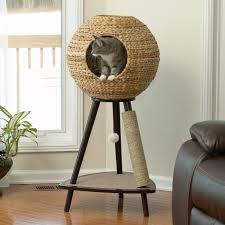 alluring design ideas of unique cat trees with globe shape knitted rattan cat house also combine chic cat furniture