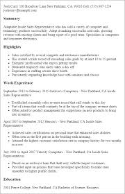 Professional Inside Sales Representative Templates to Showcase     My Perfect Resume