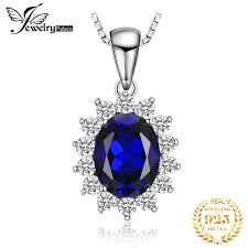 JewelryPalace <b>Cross</b> Heart <b>Shape</b> Blue Sapphire <b>Pendant</b> 925 ...