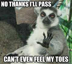 nO THANKS I'LL PASS cAN'T EVEN FEEL MY TOES - Sloth Party Madness ... via Relatably.com