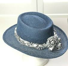<b>Vintage</b> 80s <b>Western</b> Straw Hat Blue <b>Summer</b> Sun Church <b>Cowboy</b> ...